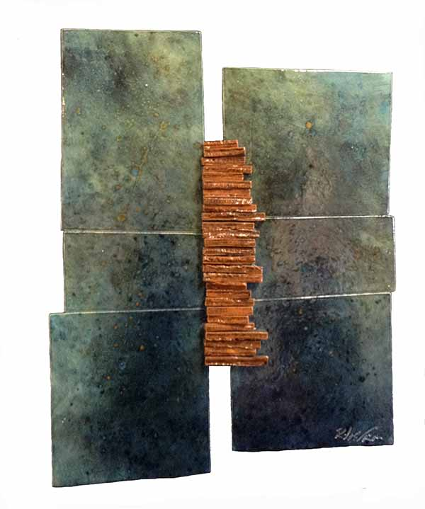 Naira & Rafik Barseghian ceramic wall sculpture of rectangles with speckles
