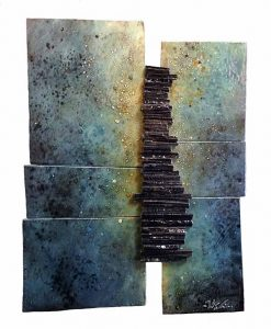 Naira & Rafik Barseghian ceramic wall sculpture blue speckled rectangles
