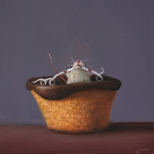 Stuart Dunkel painting of a white mouse inside a Hostess cupcake eating the icing