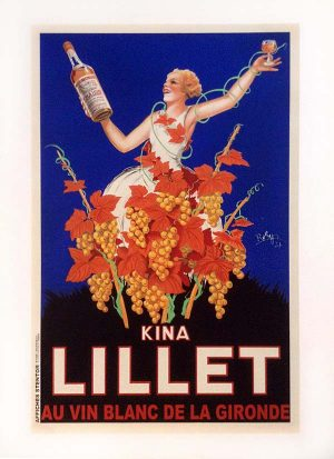 Robert Wolff vintage poster for french wine maker Lillet with a lady smiling holding wine among grapes