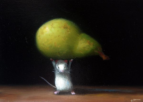 Stuart Dunkel painting of a white mouse lifting a pear over its head