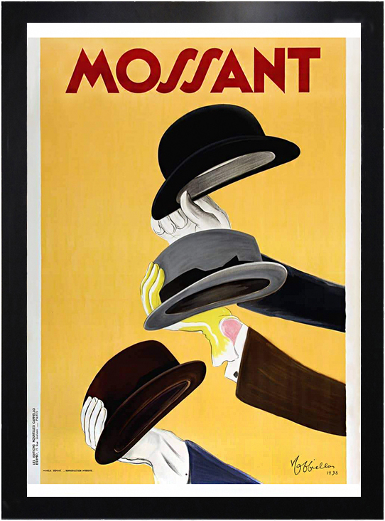 framed vintage poster advertisement for Mossant hats with three hands holding three gentlemen's hats