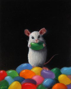 Stuart Dunkel painting of a white mouse surrounded by jelly beans