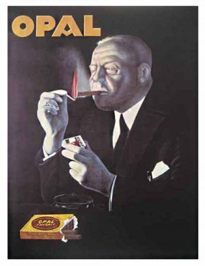 poster advertisement for opal cigars with a well-dressed white haired man lighting a cigar with a match