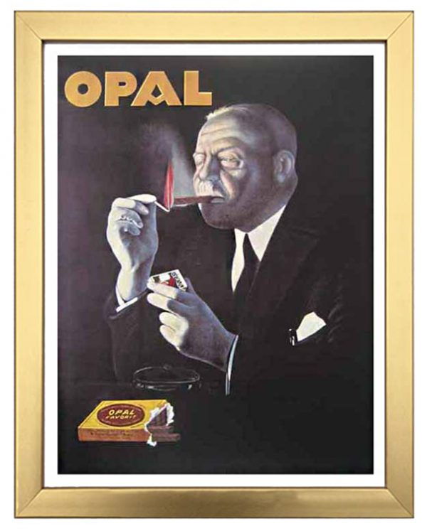 framed vintage poster advertisement for Opal cigars with a well dressed man lighting a cigar with a match