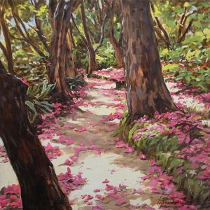 Lopesalcedo painting of pink petals falling from trees on forest path