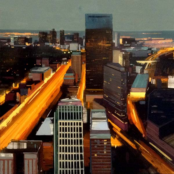 Kevin Kusiolek painting of birds' eye view of Prudential and surrounding buildings and traffic lights on the mass pike