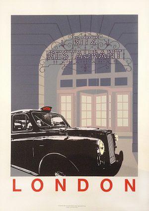 vintage poster advertisement by Quentin King for the ritz restaurant in London England