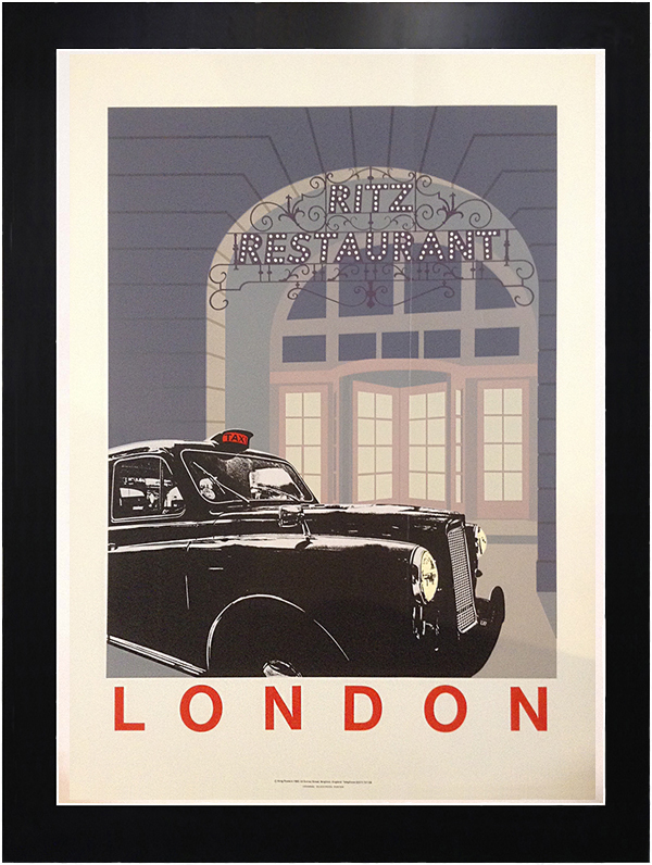 framed vintage poster advertisement by Quentin King for the ritz restaurant in London England