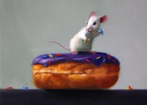 Stuart Dunkel painting of a white mouse taking a sprinkle from the top of a donut