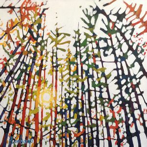 Holly Lombardo painting of sunlight filtering through tall trees