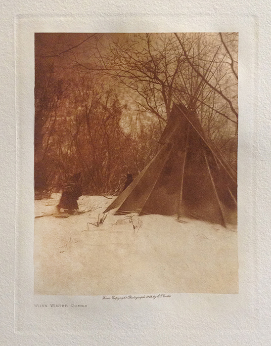 Edward S. Curtis photo of tent in woods during winter