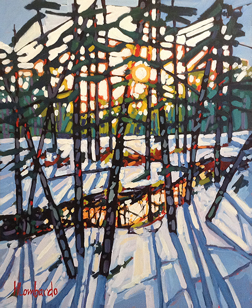 Holly Lombardo painting of a forest in winter at sunrise or sunset