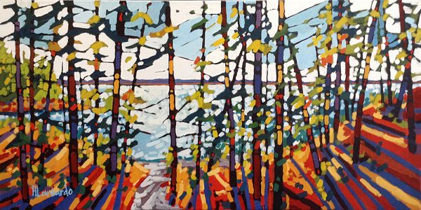 Holly Lombardo painting of Wolfe's Neck State Park trees and lake