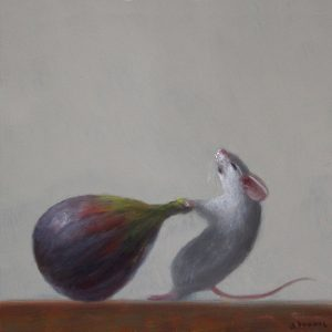 Stuart Dunkel painting of a white mouse pulling a fig with noticeable effort