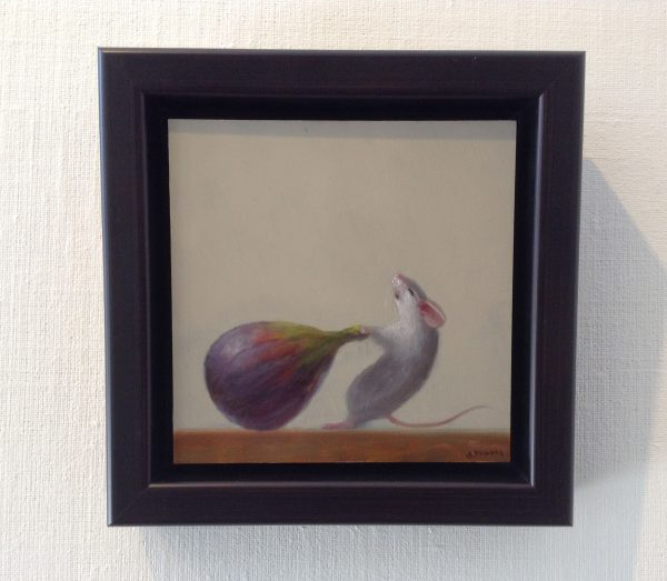 framed Stuart Dunkel painting of a mouse pulling a fig with visible effort