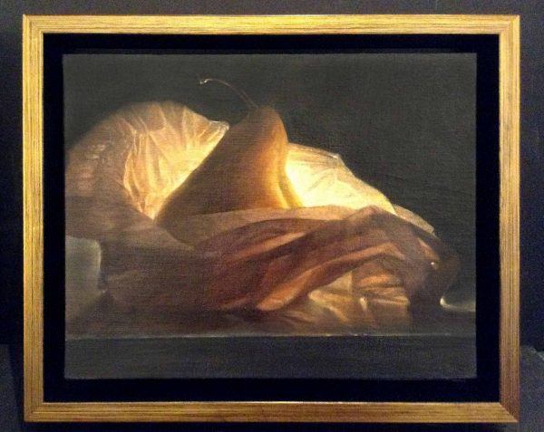 framed Lorena Pugh painting of a pear on wax paper