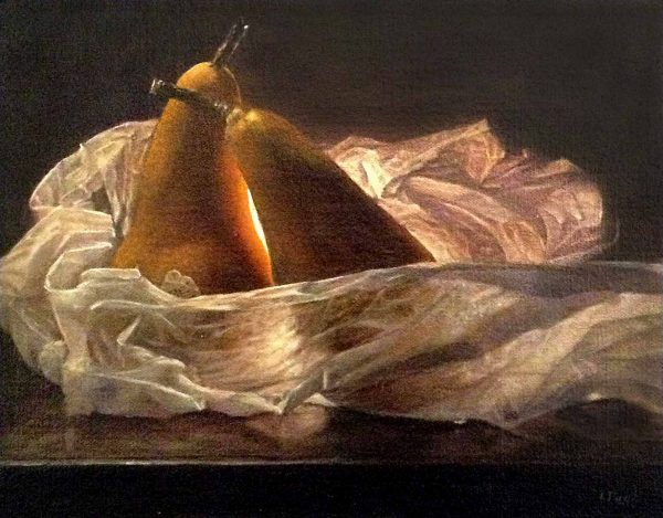 Lorena Pugh painting of 2 pears with wax paper on dark background