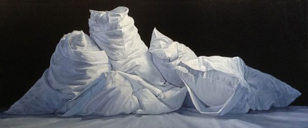 Carol O'Malia painting of several pillows piled on top a bed