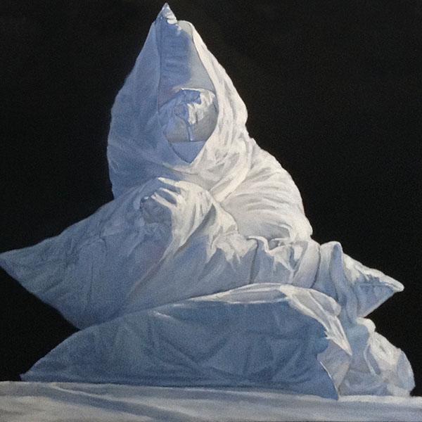 Carol O'Malia painting of 3 white pillows