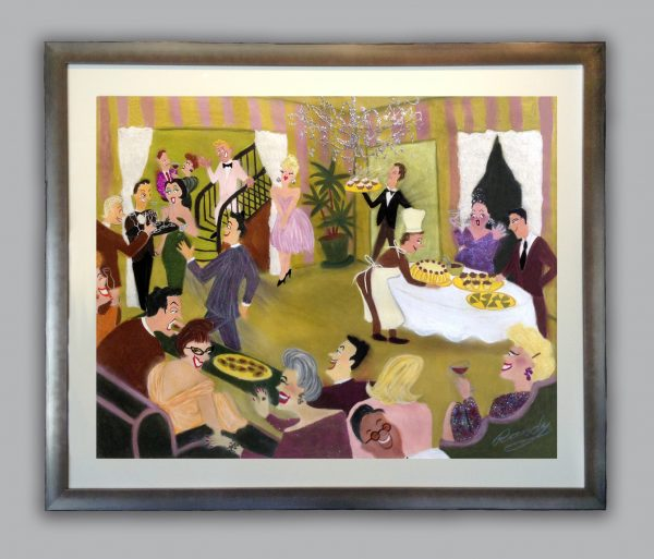 Framed Randy Stevens painting of a glittery party with food and servers