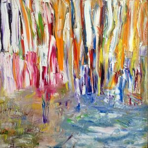 Irina Gorbman painting of thickly applied streaks of bright color