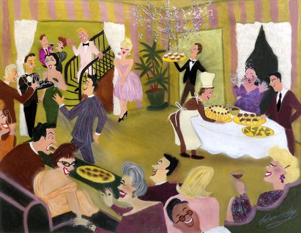 Randy Stevens painting of a glittery party with food and servers