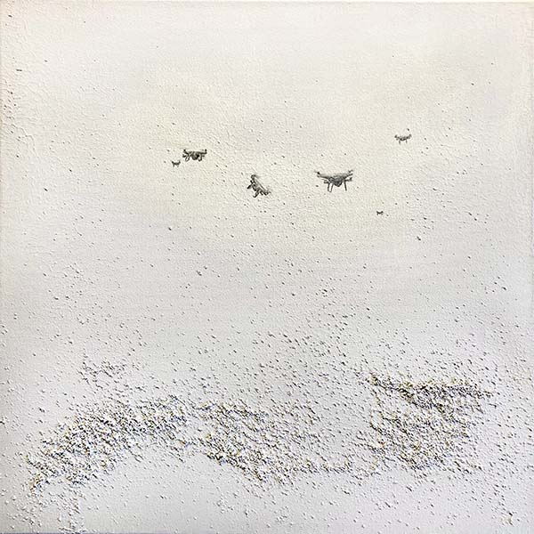 Wendy Shapiro painting of small drones hovering over white texture
