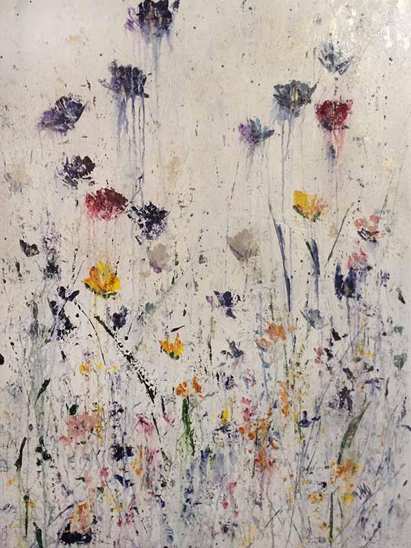 Jodi Maas painting of multi colored wildflowers