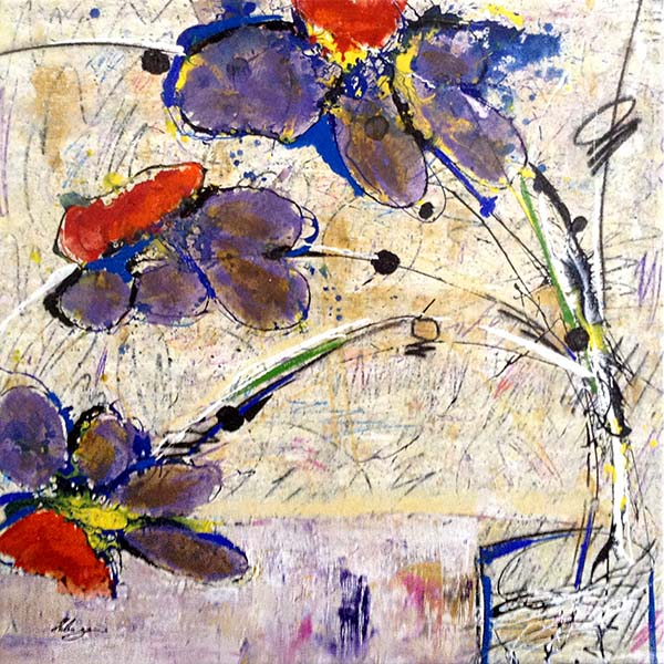 Helen Zarin painting of 3 purple and red flowers abstracted