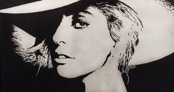 Joseph Zielinski painting portrait of Lady Gaga wearing wide brimmed hat