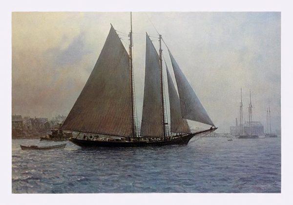 Christopher Blossom print Gloucester Mackerel Seiners sailboat in harbor