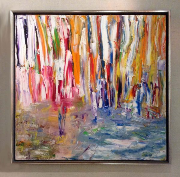 framed Irina Gorbman painting of thickly applied streaks of color