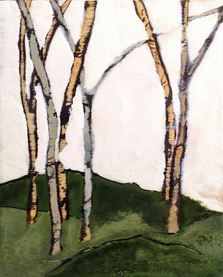 Patricia Busso encaustic of a couple of skinny trees