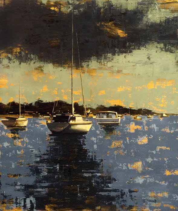 Kevin Kusiolek painting of sailboats on the water on a sunny day