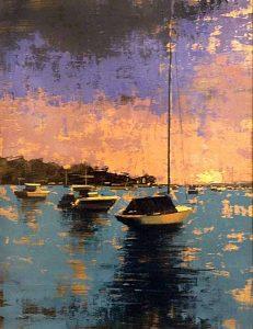 Kevin Kusiolek painting of sail boats at harbor at sunset