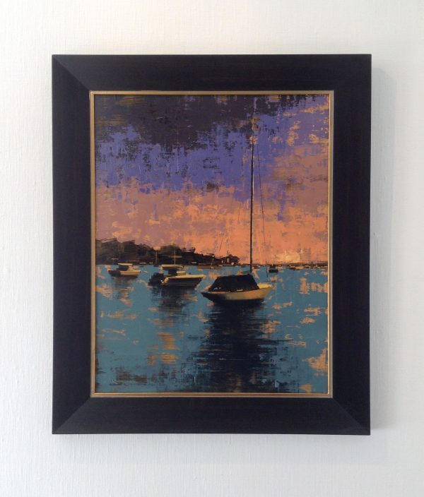 framed Kevin Kusiolek painting of docked boats at sunset