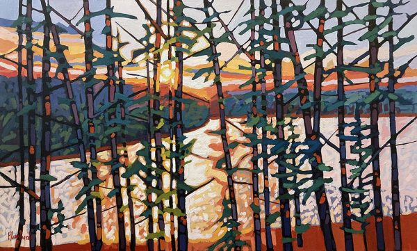 Holly Lombardo painting of Walden Pond with sun rising/setting behind hills and trees