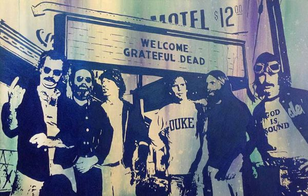 Joseph Zielinski painting of Grateful Dead standing outside a venue