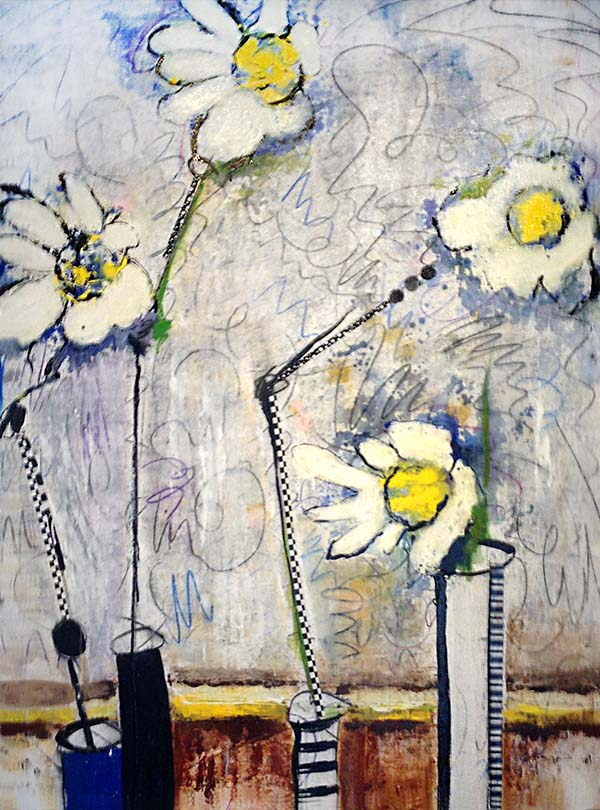 Helen Zarin painting of white and yellow flowers on an abstract background