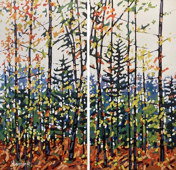Holly Lombardo painting of trees in autumn with