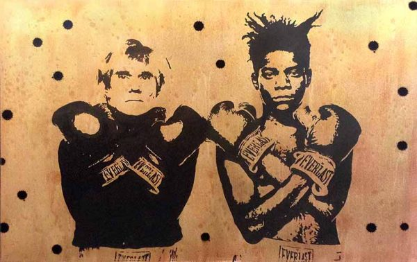 Joseph Zielinski painting of Jean-Michele Basquiat and Andy Warhol standing with arms crossed in boxing gloves