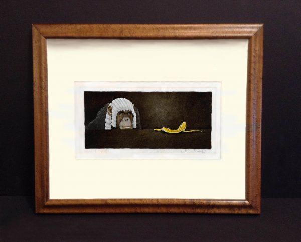 framed William Bullas print of monkey in judge's wig looking at banana peel