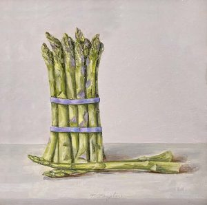Patti Zeigler painting of a bunch of asparagus