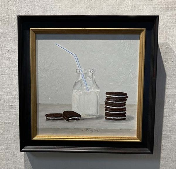 Patti Zeigler painting of oreos stacked next to a bottle of milk with a straw