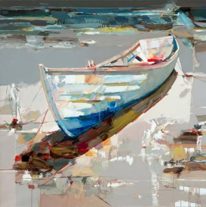 Josef Kote - Drifting Off to Tranquility - giclee on canvas of a colorful boat on the beach