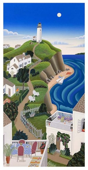 Thomas McKnight print of nantucket shoreline with beach and houses