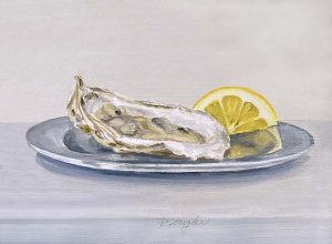 Patti Zeigler painting of a shucked oyster on a plate with lemon slice