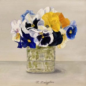 Patti Zeigler painting of pansies in a glass vase