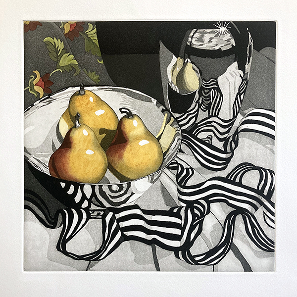 Raenell Doyle etching of pears on a table